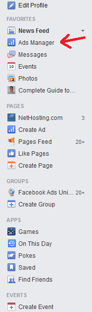 Click on Ads Manager